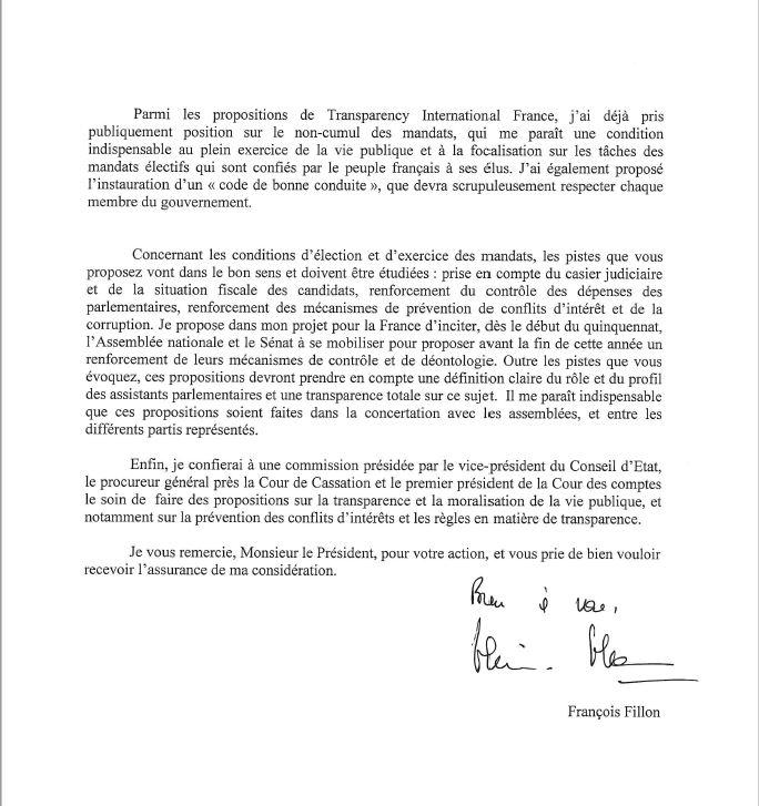 Courrier de François Fillon