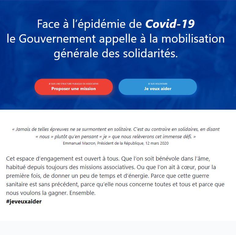COVID19 / La réserve civique lance la plateforme de mobilisation citoyenne «covid19.reserve-civique.gouv.fr» destinée à ceux qui souhaitent se mobiliser contre l'épidémie