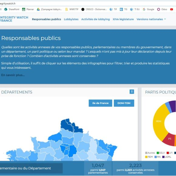 Transparency International met en ligne Integrity Watch, une plateforme d'open data, véritable outil citoyen de prévention des conflits d'intérêts.