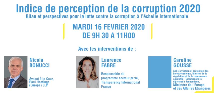 WEBINAIRE : Indice de Perception de la Corruption 2020 – Mardi 16 février 2021