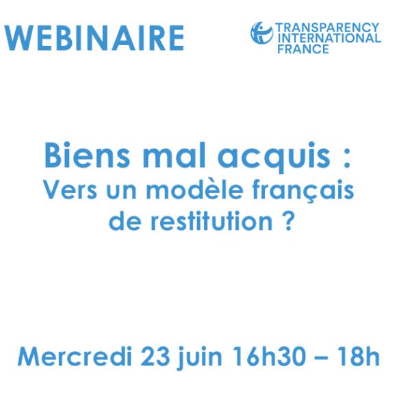 WEBINAIRE / Biens mal acquis : Vers un modèle français de restitution ?